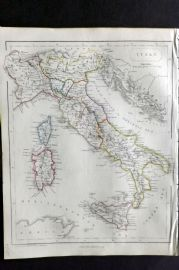 Barclay C1850 Antique Map. Italy